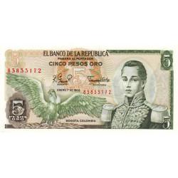 Colombie - Pick 406f3 - 5 pesos oro - 01/01/1980 - Etat : NEUF