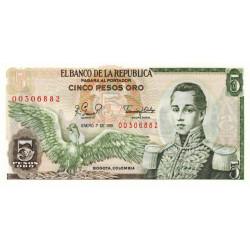Colombie - Pick 406f_4 - 5 pesos oro - 1981 - Etat : NEUF