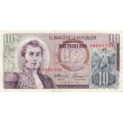 Colombie - Pick 407f_1 - 10 pesos oro - 20/07/1974 - Etat : TB+
