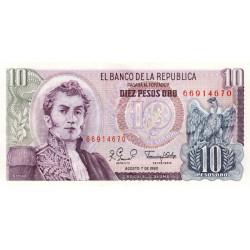 Colombie - Pick 407g2 - 10 pesos oro - 07/08/1980 - Etat : NEUF