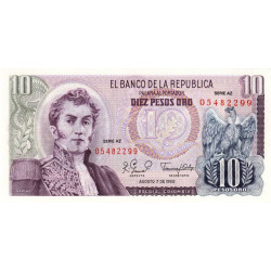 Colombie - Pick 407h - 10 pesos oro - 07/08/1980 - Etat : NEUF
