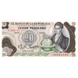 Colombie - Pick 409d3 - 20 pesos oro - 01/01/ 1982 - Etat : NEUF