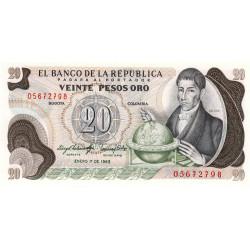 Colombie - Pick 409d4 - 20 pesos oro - 01/01/1983 - Etat : NEUF