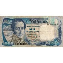 Colombie - Pick 424b - 1'000 pesos oro - 07/08/1984 - Etat : TB-