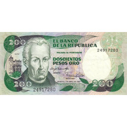 Colombie - Pick 428 - 200 pesos oro - 1983 - Etat : TTB
