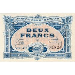 Bordeaux - Pirot 30-27 - 2 francs- Série 49 - 1920 - Etat : SUP+