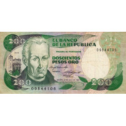Colombie - Pick 429a_2 - 200 pesos oro - 1984 - Etat : TB+