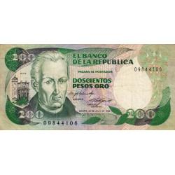 Colombie - Pick 429a2 - 200 pesos oro - 20/07/1984 - Etat : TB+