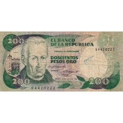 Colombie - Pick 429a2 - 200 pesos oro - 20/07/1984 - Etat : TB-