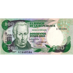 Colombie - Pick 429d4 - 200 pesos oro - 01/04/1989 - Etat : NEUF
