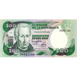 Colombie - Pick 429A - 200 pesos oro - 10/08/1992 - Etat : NEUF