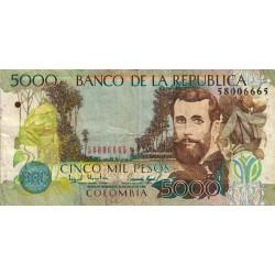 Colombie - Pick 447c - 5'000 pesos - 1999 - Etat : TB+