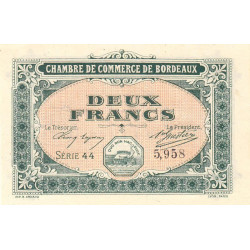 Bordeaux - Pirot 30-17 - 2 francs- Série 44 - 1917 - Etat : NEUF