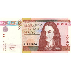 Colombie - Pick 453o - 10'000 pesos - 21/08/2012 - Etat : NEUF