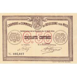 Boulogne-sur-Mer - Pirot 31-1 - 50 centimes - Sans série - 14/08/1914 - Etat : SPL+