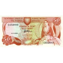 Chypre - Pick 52_3 - 50 cent - 01/11/1989 - Etat : TTB+