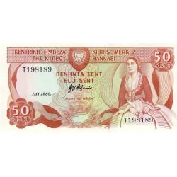 Chypre - Pick 52_3 - 50 cent - 01/11/1989 - Etat : NEUF