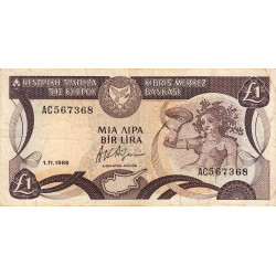 Chypre - Pick 53a_3 - 1 livre - 01/11/1989 - Etat : TB+