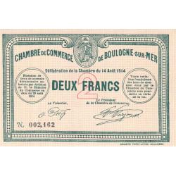 Boulogne-sur-Mer - Pirot 31-7 - 2 francs - Sans série - 14/08/1914 - Etat : NEUF