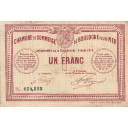 Boulogne-sur-Mer - Pirot 31-4 - 1 franc - Sans série - 14/08/1914 - Etat : TB-