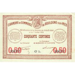 Boulogne-sur-Mer - Pirot 31-17 variété - Série C1 - 50 centimes - 07/07/1916 - Etat : SUP à SPL+