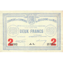 Boulogne-sur-Mer - Pirot 31-21 - 2 francs - 1914 - Etat : SUP+