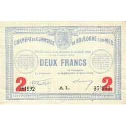 Boulogne-sur-Mer - Pirot 31-21 variété - Série A1 - 2 francs - 07/07/1916 - Etat : SUP+