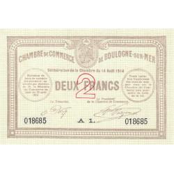 Boulogne-sur-Mer - Pirot 31-13 - Série A1 - 2 francs - 14/08/1914 - Etat : SPL+