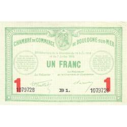 Boulogne-sur-Mer - Pirot 31-19 - Série B1 - 1 franc - 07/07/1916 - Etat : SUP+