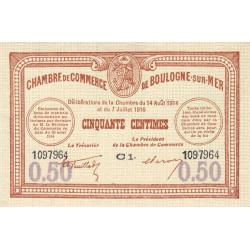 Boulogne-sur-Mer - Pirot 31-23 variété - Série C1 - 50 centimes - 07/07/1916 - Etat : SUP+