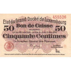 Luxembourg - Pick 26 - 50 centimes - 1919 - Etat : SUP+