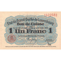 Luxembourg - Pick 27 - 1 franc - 1919 - Etat : SUP