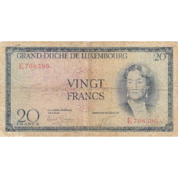 Luxembourg - Pick 49a - 20 francs - 1955 - Etat : B