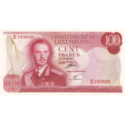 Luxembourg - Pick 56a - 100 francs - 1970 - Etat : pr.NEUF