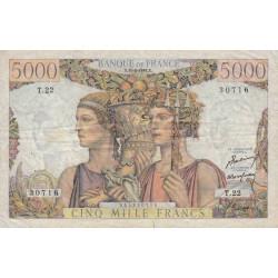 F 48-01 - 10/03/1949 - 5000 francs - Terre et Mer - Série T.22 - Etat : TTB-