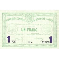 Boulogne-sur-Mer - Pirot 31-24 - Série B1 - 1 franc - 07/07/1916 - Etat : NEUF