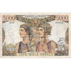 F 48-05 - 16/08/1951 - 5000 francs - Terre et Mer - Série R.73 - Etat : TB+