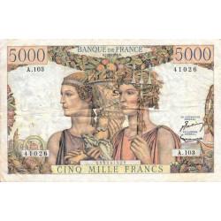 F 48-06 - 07/02/1952 - 5000 francs - Terre et Mer - Série A.103 - Etat : TTB
