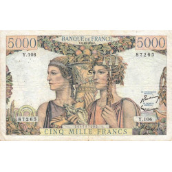F 48-07 - 02/10/1952 - 5000 francs - Terre et Mer - Série Y.106 - Etat : TB