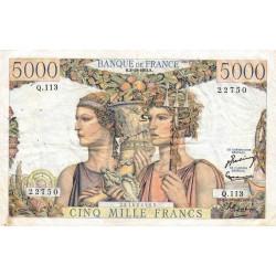 F 48-07 - 02/10/1952 - 5000 francs - Terre et Mer - Série Q.113 - Etat : TTB