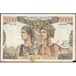 F 48-07 - 02/10/1952 - 5000 francs - Terre et Mer - Série X.113 - Etat : TB
