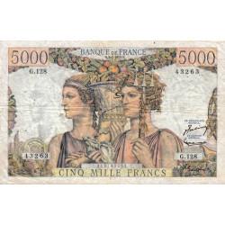 F 48-08 - 02/01/1953 - 5000 francs - Terre et Mer - Série G.128 - Etat : TB+
