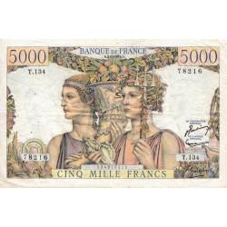 F 48-09 - 02/07/1953 - 5000 francs - Terre et Mer - Série T.134 - Etat : TTB-