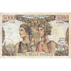 F 48-10 - 03/12/1953 - 5000 francs - Terre et Mer - Série Y.141 - Etat : TB+