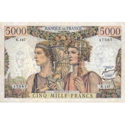 F 48-11 - 01/03/1956 - 5000 francs - Terre et Mer - Série N.147 - Etat : TTB-