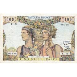 F 48-15 - 03/10/1957 - 5000 francs - Terre et Mer - Série K.179 - Etat : TB+
