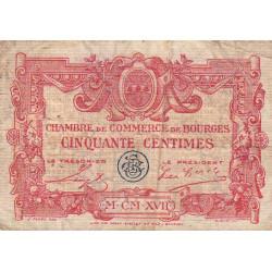 Bourges - Pirot 32-8 - Série D - 50 centimes - 1917 - Etat : B+