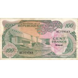 Congo (Kinshasa) - Pick 1 - 100 francs - 05/06/1963 - Etat : TB+