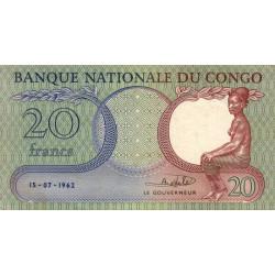 Congo (Kinshasa) - Pick 4 - 20 francs - 15/07/1962 - Etat : SUP