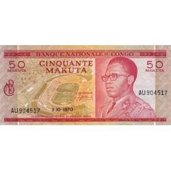 Congo (Kinshasa) - Pick 11b - 50 makuta - Série AU - 01/10/1970 - Etat : SUP